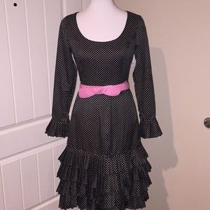 Vintage polka dot ruffled dress